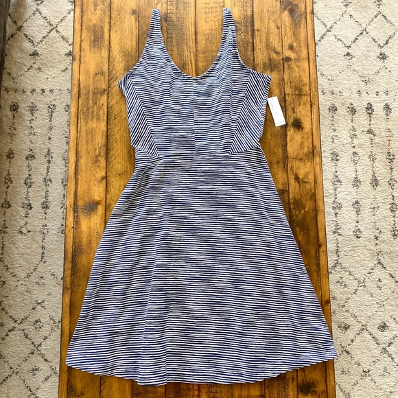 Old Navy Fit & Flare Navy/ White Striped Dress XS